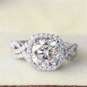 3 carat cushion cut halo wedding engagement wedding lab With moissanite wedding ring sets