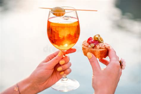Glass With Spritz Aperol Alcohol Drink Stock Image