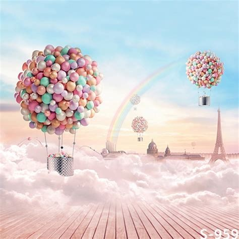 babykids photo backgrounds fantasy balloons rainbow blue