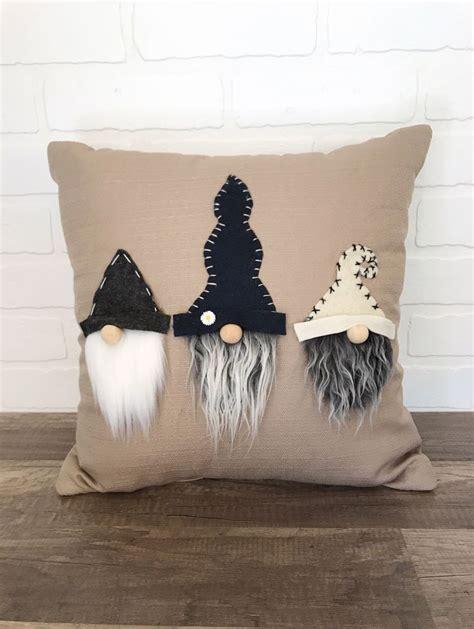 adorable neutral gnome pillow handmade gnome throw pillow