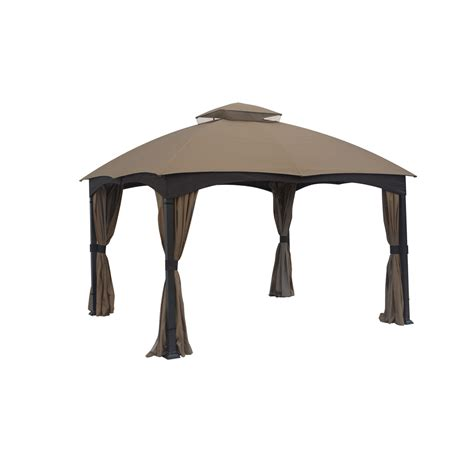 allen and roth gazebo shop allen roth brown metal rectangle screened gazebo