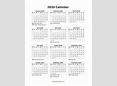 Download Blank Calendar 2020 with US Holidays 12 months