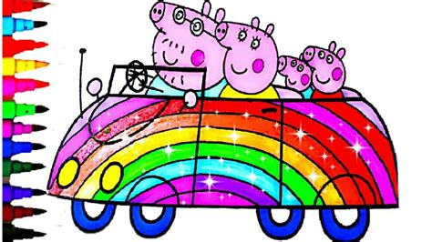 rainbow glitter car peppa pig best learning coloring book coloring pages
