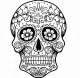 Skull Coloring Sugar Scary Adults sketch template