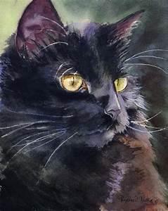 Black Cat Art Painting PRINT Watercolor painting Rachel