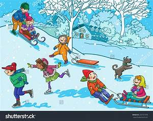 Kids In Winter Season Clipart - ClipartXtras