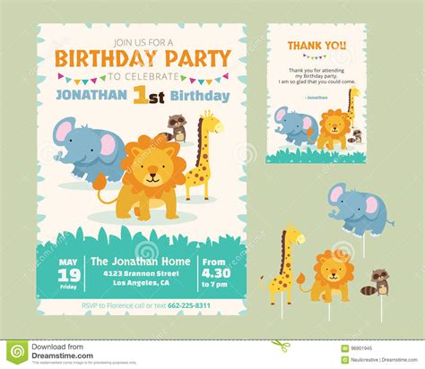 animal thank you card template animal theme birthday invitation stock vector