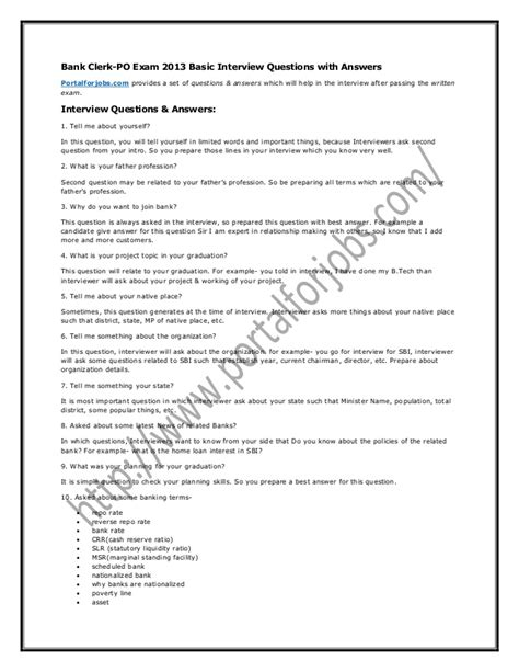 Accounts Clerk Questions And Answers by Bank Clerk Po 2013 Basic Questions With Answers