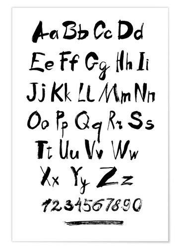 alphabet zahlen kalligraphie poster  bestellen