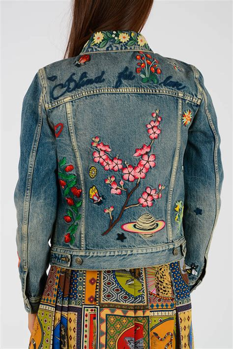 gucci denim embroidery jacket women glamood outlet