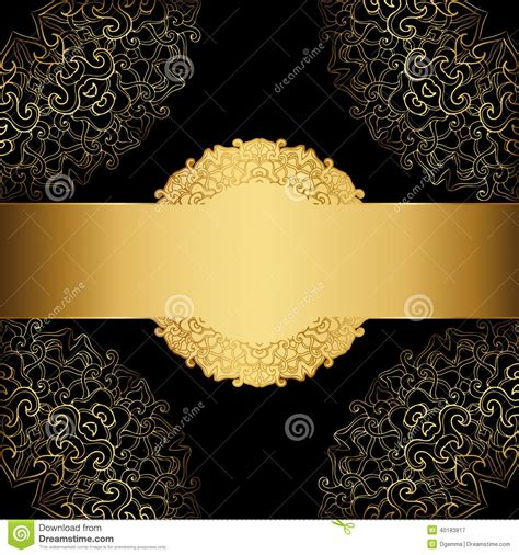 gold frame   black background stock vector image