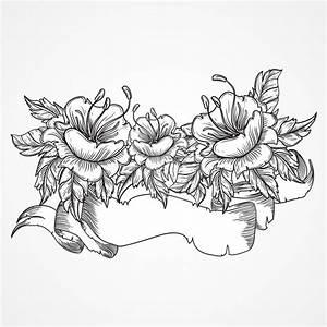 Verspielter Floraler Design Stil : vintage floral highly detailed hand drawn bouquet of flowers and ribbon banner in black and ~ Watch28wear.com Haus und Dekorationen