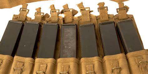 wwii sten gun magazine bandolier 7 pouches with magazines militaria