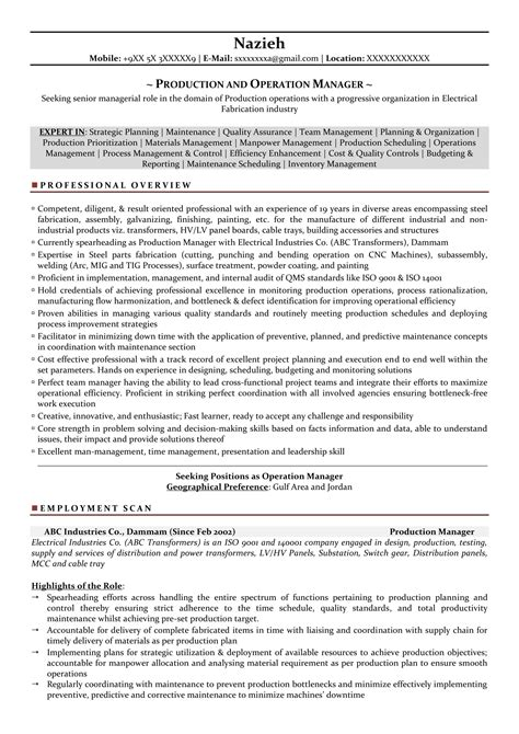 Food Production Supervisor Resume by Production Manager Sle Resumes Resume Format