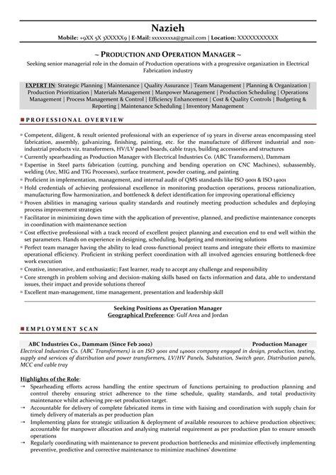 Production Supervisor Resume by Production Manager Sle Resumes Resume Format