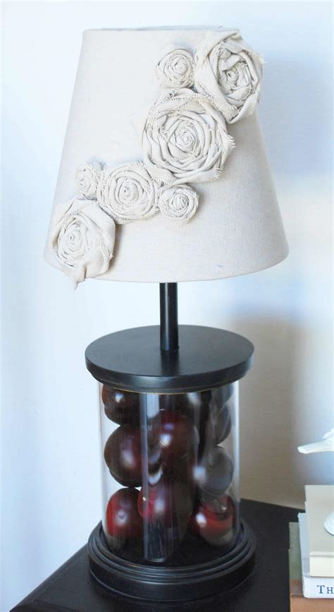 diy lampshade redo canvas rosettes