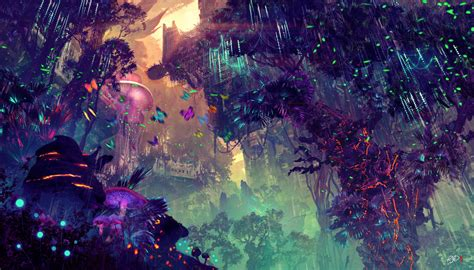glowing forest colorful digital drawing  hd artist