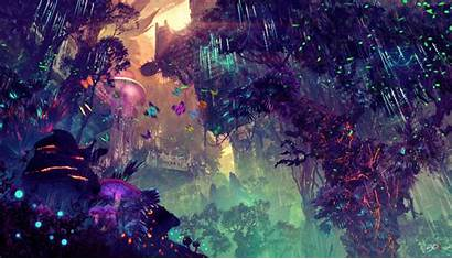 4k Forest Digital Glowing Backgrounds Mushroom Drawing