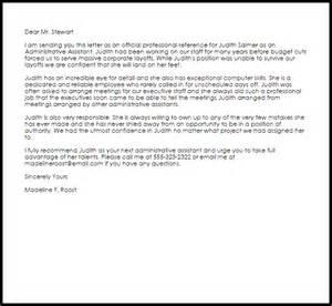 Administrative Assistant Reference Letter Livecareer