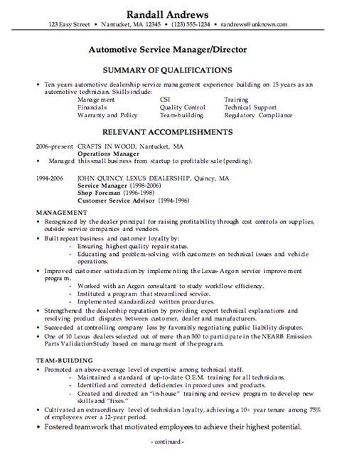 Automotive Resumes by Combination Resume Exle Automotive Service Manager C