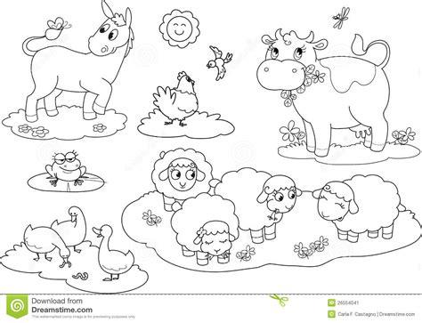 Coloring Farm Animals 2 Stock Vector. Illustration Of