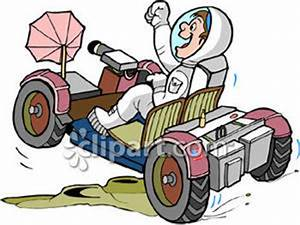 Cartoon Astronaut Driving A Space Vehicle - Royalty Free ...