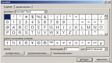 word symbole und sonderzeichen einfuegen