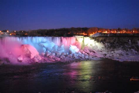 niagara falls lights at niagara falls frozen at
