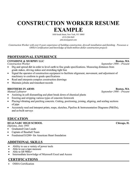 Construction Resume Objective by Construction Worker Resume Exle Professional Experience