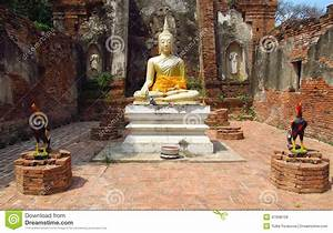 Ayutthaya Ancient City Ruins  Buddha Statue Stock Photo