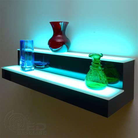 wall mounted liquor 2 tier led floating shelf led lighted floating shelves