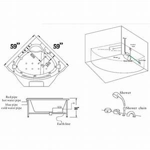 Ariel Corner Whirlpool Bathtub Spa Bt 084