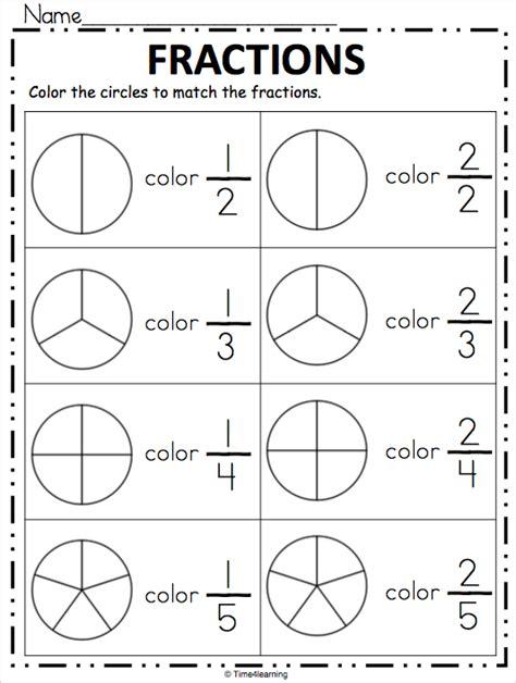 fraction worksheet color the fraction 1st grade math