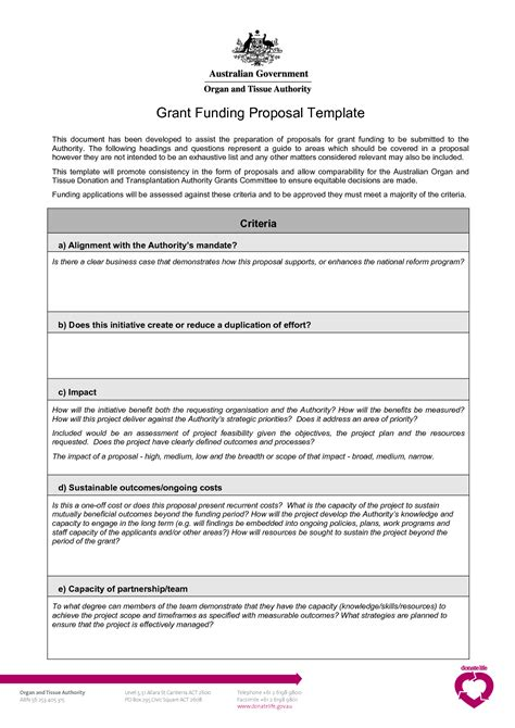 grant proposal template business mentor