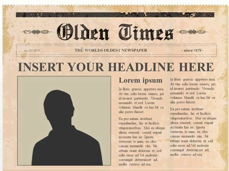 Classic Newspaper Template by Editable Olden Times Newspaper