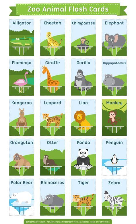 printable zoo animal flash cards