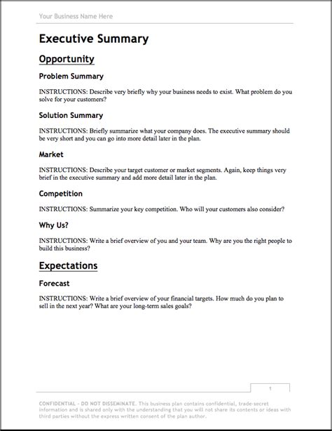 business plan template updated