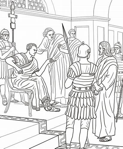 Mark Silent Jesus Coloring Pilate Before He