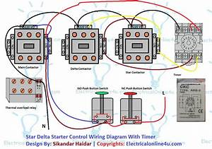 Star Delta Starter Control Circuit Diagram With Timer