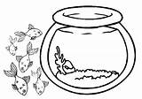 Fish Bowl Coloring Outline Outside Clipart Pages Sheet Drawing Empty Printable Goldfish Cliparts Jellyfish Fishbowl Tank Cut Clip Activities Paste sketch template