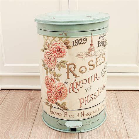 shabby chic bathroom bin vintage roses armour pedal bin by dibor notonthehighstreet com