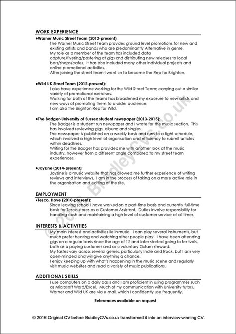 Cvs And Resumes Exles by Exles Of And Bad Cvs Resumes By Bradley Cvs Uk