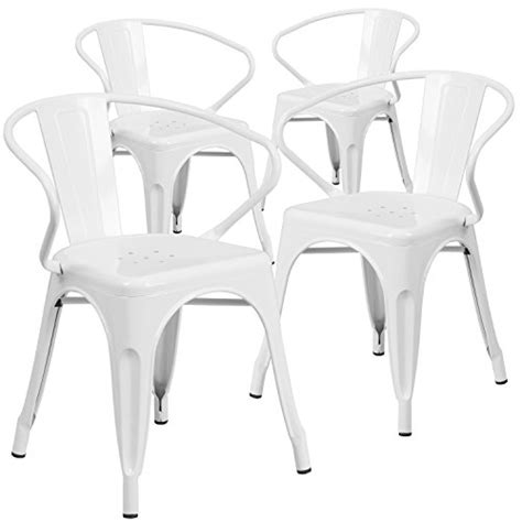 4 pk white metal indoor outdoor chair with arms furniture