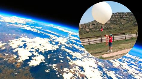 balloon space weather earth into go pro attached mirror captures launched spectacular
