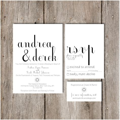 simple chic script wedding invitation package diy do it