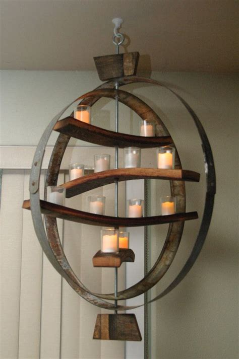 unique candle holder    wooden staves  iron