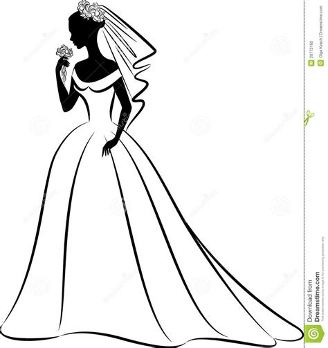 Silhouette Of Beautiful Bride In Dress. Stock Vector   Illustration of decor, antique: 20775160