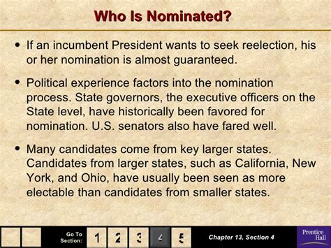 chapter 13 section 4 presidential nominations government chapter 13 powerpoint
