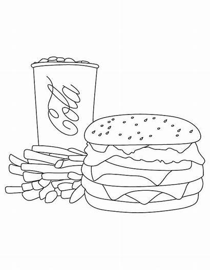 Burger Fries Hamburger Cola Coca Coloring Pages