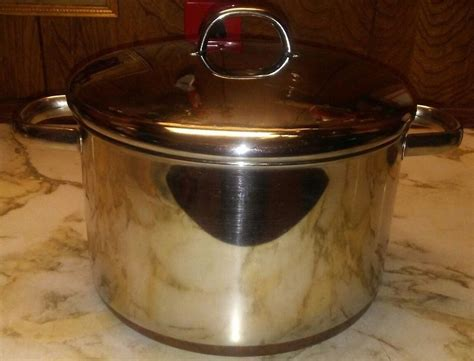 revere ware  qt metal loop handles stock pot copper clad usa dutch oven vintage revere ware